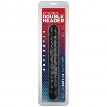 """Черный двухголовый фаллоимитатор Jr. Veined Double Header 12"""" Bender - 30,5 см."""