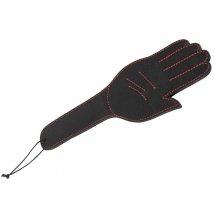 Чёрная шлёпалка Slapper Hand в виде ладошки с контрастной строчкой - 30 см.