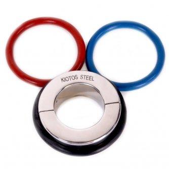 Серебристая утяжка на мошонку с 3 кольцами в комплекте Ball Stretcher