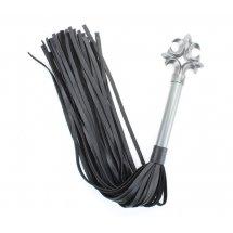 Черная плеть из натуральной кожи Gray в готическом стиле - 63 см.
