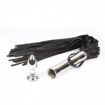 Черная плетка Notabu с черным кристаллом на рукояти - 58 см.
