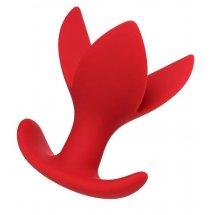 Красная силиконовая расширяющая анальная пробка Flower - 9 см.