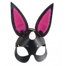 """Черная маска """"Зайка"""" с розовыми меховыми вставками"""