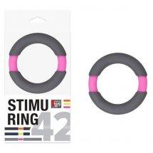 Серо-розовое эрекционное кольцо на пенис Neon Stimu