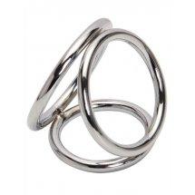 Серебристое тройное эрекционное кольцо