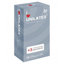 Презервативы с рёбрами Unilatex Ribbed - 12 шт. + 3 шт. в подарок