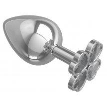 Серебристая анальная пробка-клевер с прозрачным кристаллом - 9,5 см.